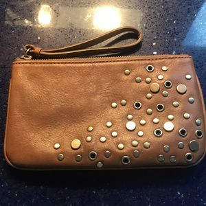 Leather and silver grommet wristlet